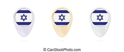 Map markers with flag of Israel, 3 color versions.