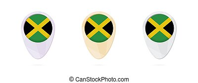 Map markers with flag of Jamaica, 3 color versions.