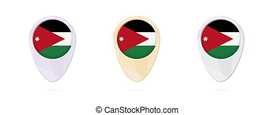 Map markers with flag of Jordan, 3 color versions.