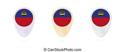 Map markers with flag of Liechtenstein, 3 color versions.