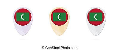 Map markers with flag of Maldives, 3 color versions.