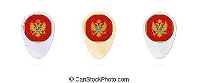 Map markers with flag of Montenegro, 3 color versions.