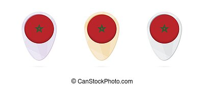 Map markers with flag of Morocco, 3 color versions.