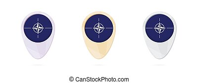 Map markers with flag of Nato, 3 color versions.