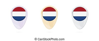 Map markers with flag of Netherlands, 3 color versions.