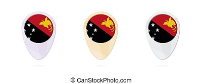 Map markers with flag of Papua New Guinea, 3 color versions.