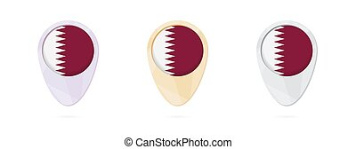 Map markers with flag of Qatar, 3 color versions.