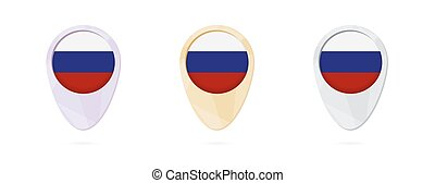 Map markers with flag of Russia, 3 color versions.