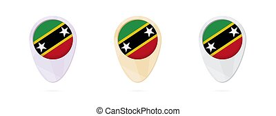 Map markers with flag of Saint Kitts and Nevis, 3 color...