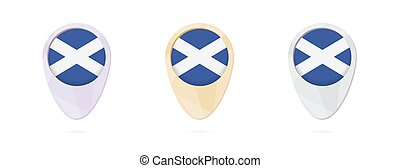 Map markers with flag of Scotland, 3 color versions.