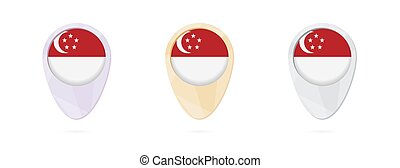 Map markers with flag of Singapore, 3 color versions.