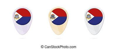 Map markers with flag of Sint Maarten, 3 color versions.