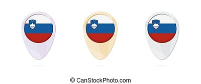 Map markers with flag of Slovenia, 3 color versions.
