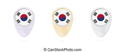Map markers with flag of South Korea, 3 color versions.