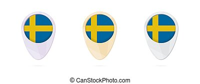 Map markers with flag of Sweden, 3 color versions.