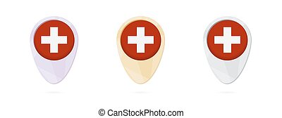 Map markers with flag of Switzerland, 3 color versions.