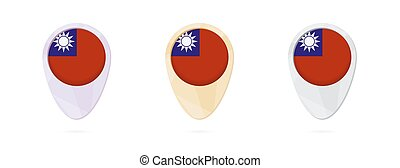 Map markers with flag of Taiwan, 3 color versions.