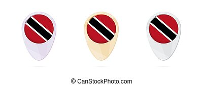 Map markers with flag of Trinidad and Tobago, 3 color...