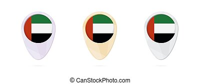 Map markers with flag of United Arab Emirates, 3 color...