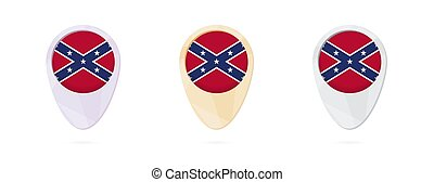 Map markers with flag of US Confederate, 3 color versions.