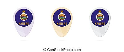 Map markers with flag of US state Kansas, 3 color versions.
