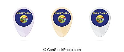 Map markers with flag of US state Montana, 3 color versions.