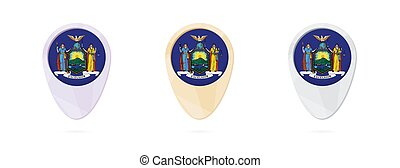 Map markers with flag of US state New York, 3 color...
