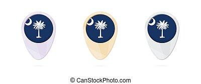 Map markers with flag of US state South Carolina, 3 color...
