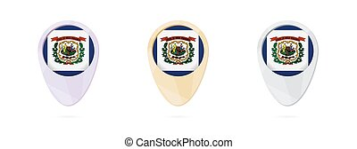 Map markers with flag of US state West Virginia, 3 color...