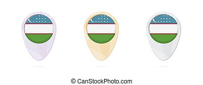 Map markers with flag of Uzbekistan, 3 color versions.