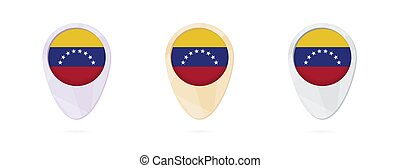 Map markers with flag of Venezuela, 3 color versions.