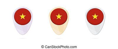 Map markers with flag of Vietnam, 3 color versions.