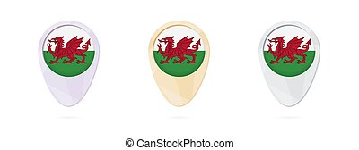 Map markers with flag of Wales, 3 color versions.