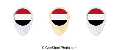 Map markers with flag of Yemen, 3 color versions.