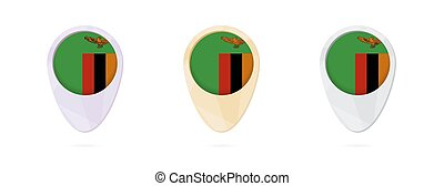 Map markers with flag of Zambia, 3 color versions.