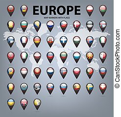 Map markers with flags - Europe. Original colors.