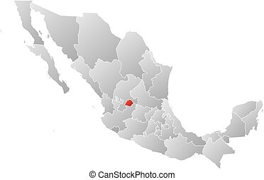 Map - Mexico, Aguascalientes - Map of Mexico with the...