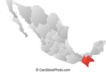 Map - Mexico, Chiapas - Map of Mexico with the provinces,...