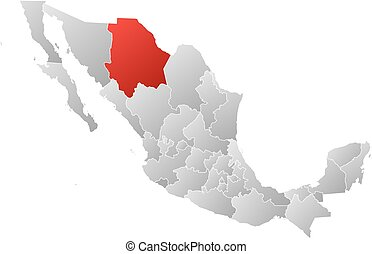 Map - Mexico, Chihuahua - Map of Mexico with the provinces,...