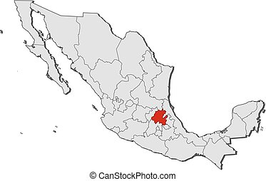 Map - Mexico, Hidalgo - Map of Mexico with the provinces,...