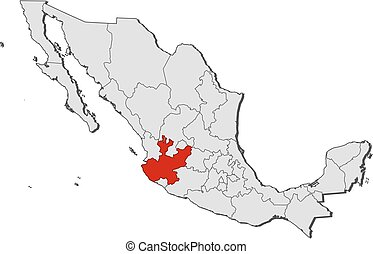 Map - Mexico, Jalisco - Map of Mexico with the provinces,...