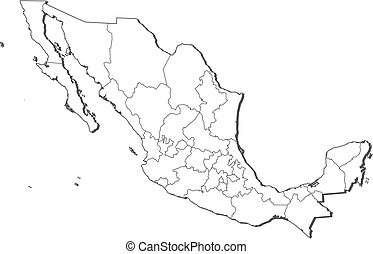 Map - Mexico - Map of Mexico, contous as a black line.