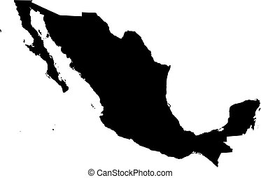 Map - Mexico - Map of Mexico in black.