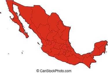Map - Mexico - Map of Mexico with the provinces, colored in...