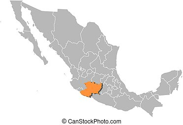 Map - Mexico, Michoacan - Map of Mexico with the provinces,...