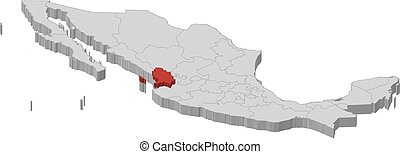 Map - Mexico, Nayarit - 3D-Illustration - Map of Mexico as a...