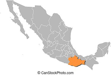 Map - Mexico, Oaxaca - Map of Mexico with the provinces,...