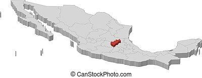 Map - Mexico, Queretaro - 3D-Illustration - Map of Mexico as...