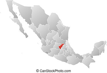 Map - Mexico, Queretaro - Map of Mexico with the provinces,...