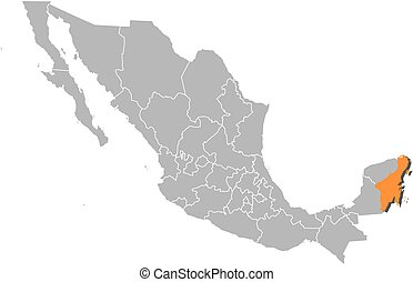 Map - Mexico, Quintana Roo - Map of Mexico with the...